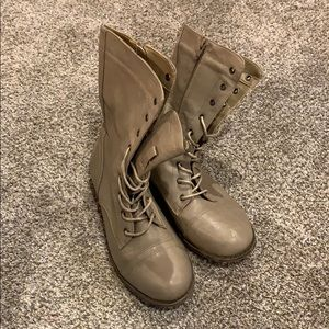 Charlotte Russe Taupe Combat Boots Size 9